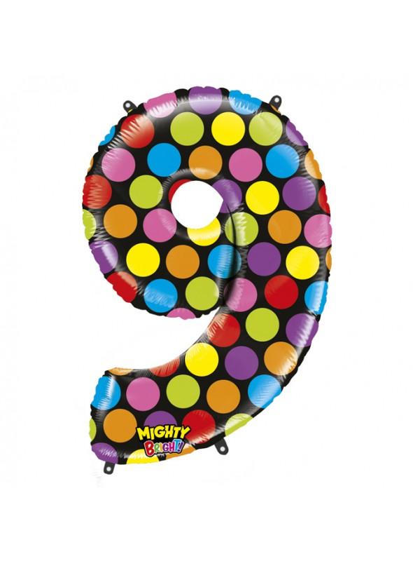 Balão Metalizado Número 9 Bolinhas – 1 unidade