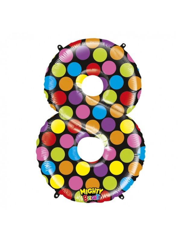 Balão Metalizado Número 8 Bolinhas – 1 unidade