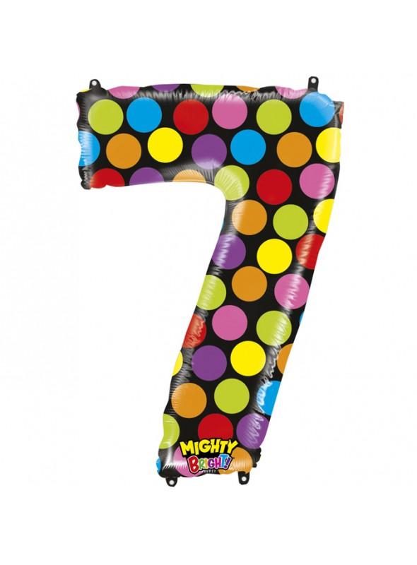 Balão Metalizado Número 7 Bolinhas – 1 unidade
