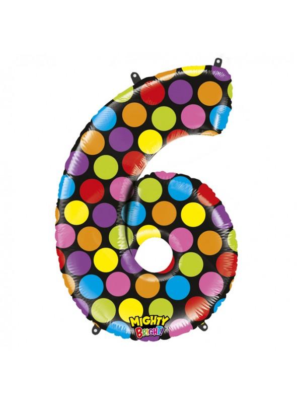Balão Metalizado Número 6 Bolinhas – 1 unidade