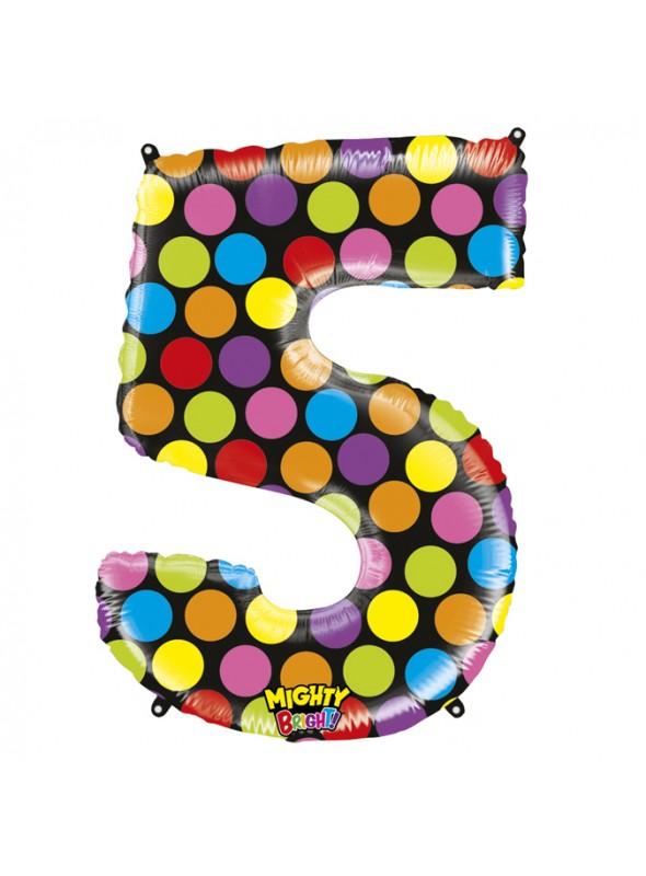 Balão Metalizado Número 5 Bolinhas – 1 unidade