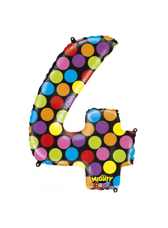 Balão Metalizado Número 4 Bolinhas – 1 unidade