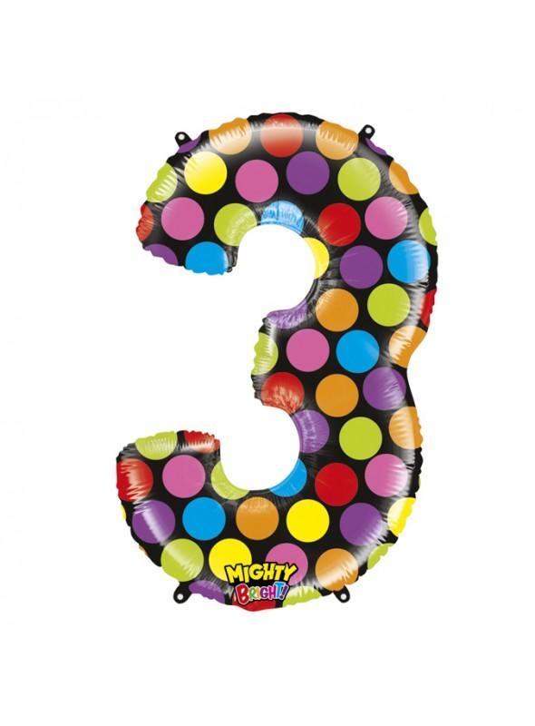 Balão Metalizado Número 3 Bolinhas – 1 unidade