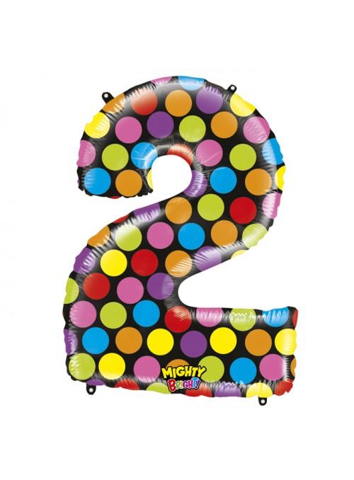 Balão Metalizado Número 2 Bolinhas – 1 unidade