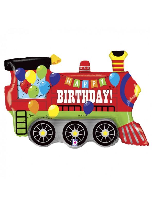 Balão Metalizado Trem Happy Birthday – 1 unidade
