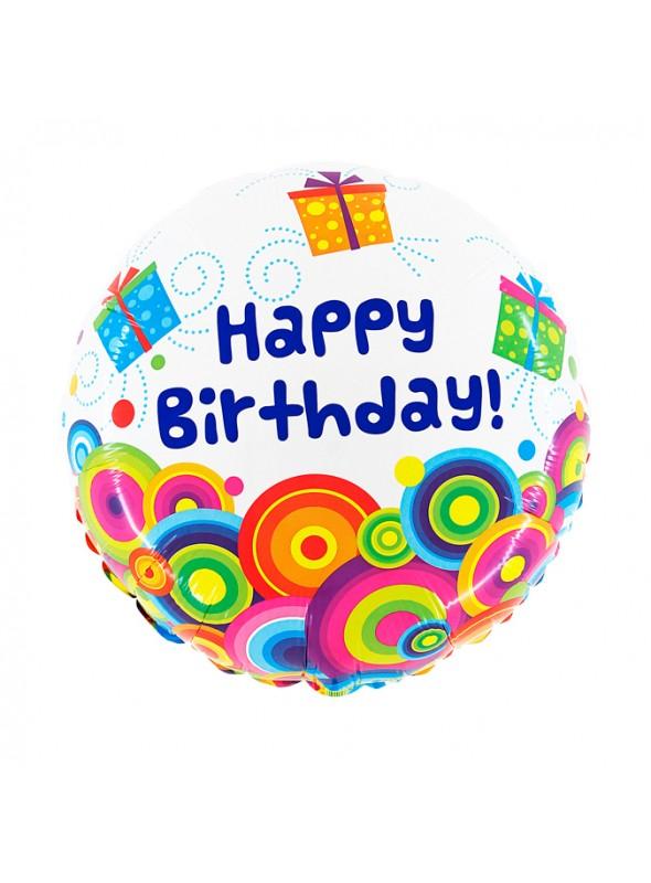 Balão Metalizado Caixas de Presente Happy Birthday – 1 unidade