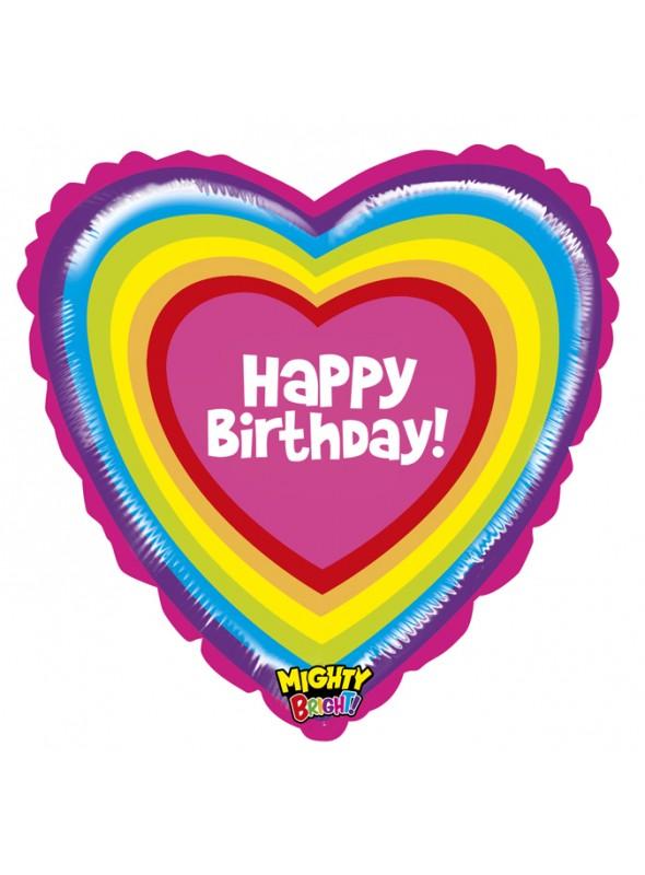 Balão Metalizado Coração Colorido Happy Birthday – 1 unidade