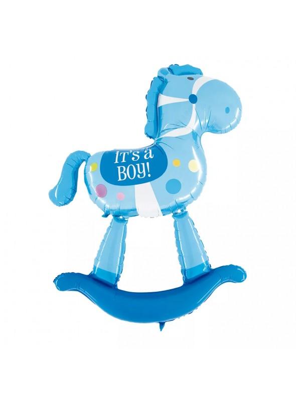 Balão Metalizado Cavalinho Azul – 1 unidade