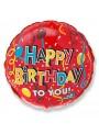 Balão Metalizado Redondo Vermelho Happy Birthday – 1 unidade
