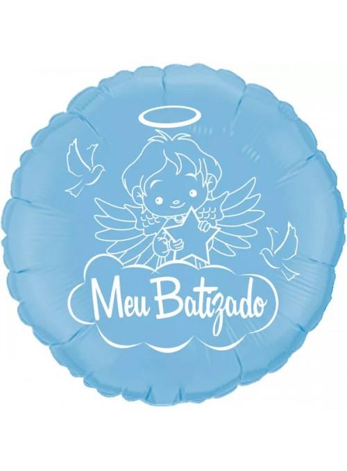 Balão Metalizado Redondo Meu Batizado Azul – 1 unidade