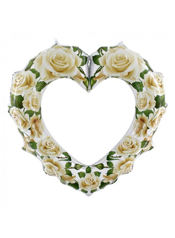 Balão Metalizado Coração Rosas Brancas – 1 unidade
