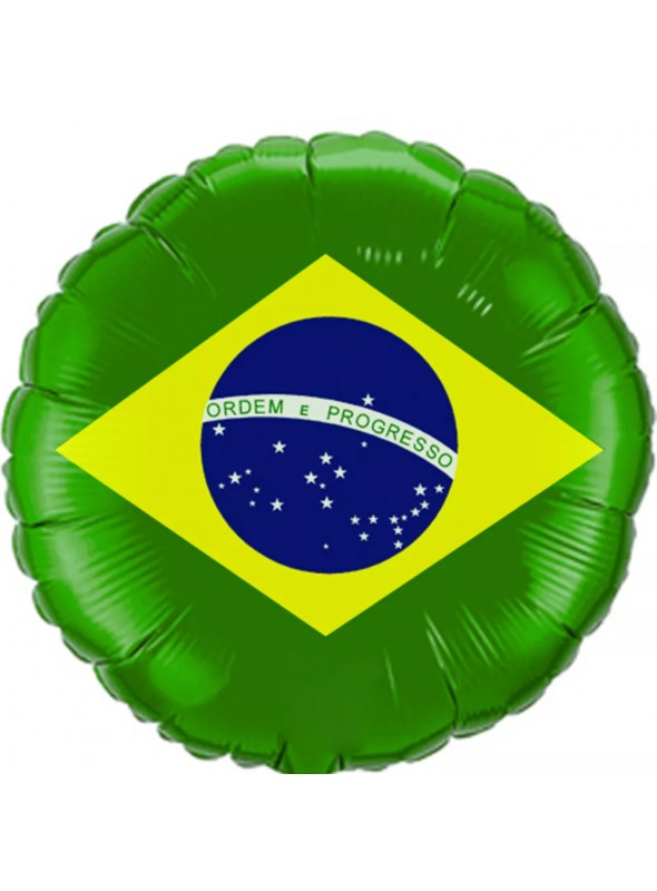 Balões Metalizados Bandeira do Brasil Verde Claro – 10 unidades
