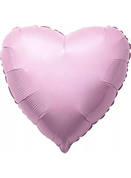 Balões Metalizados Coração Rosa Bebe – 10 unidades