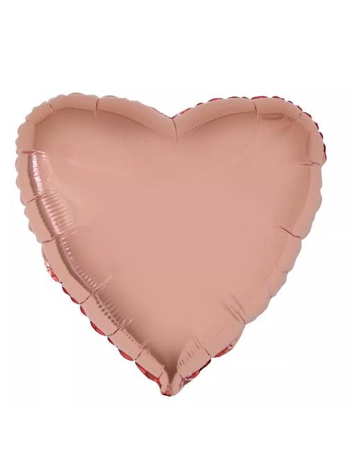 Balões Metalizados Coração Rose Gold – 10 unidades