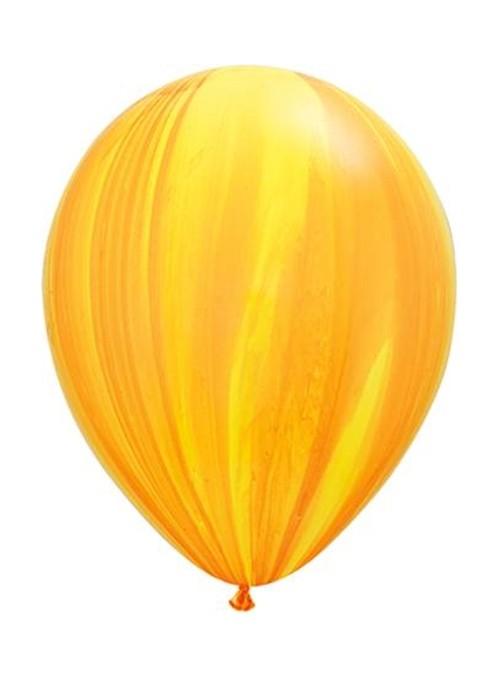 Balões de Látex Marmorizados Amarelo e Branco – 5 unidades