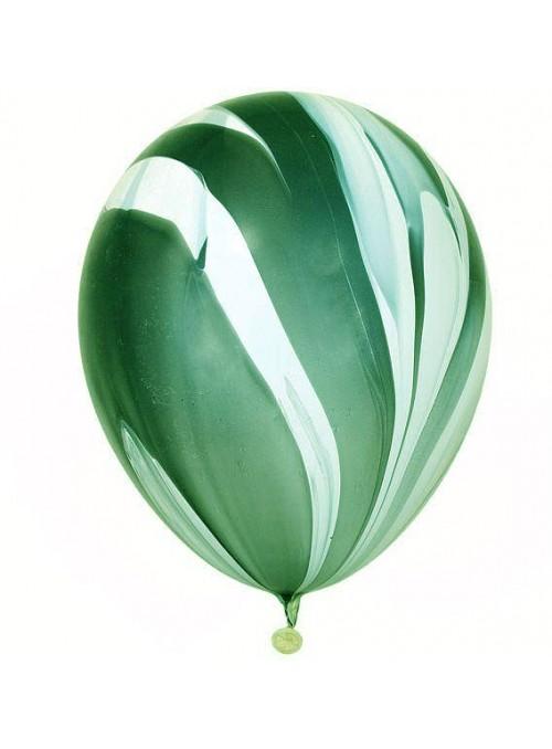 Balões de Látex Marmorizados Verde e Branco – 5 unidades