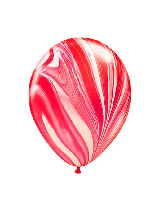 Balões de Látex Marmorizados Vermelho Forte e Branco – 5 unidades
