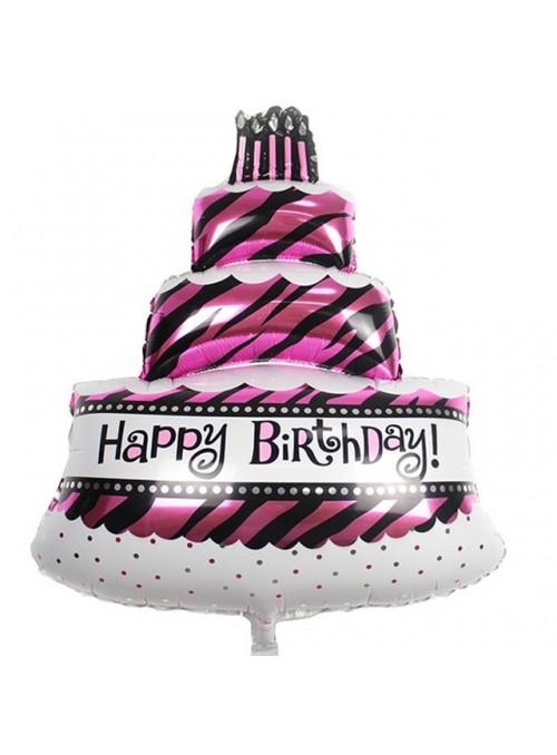 Balão Metalizado Bolo Happy Birthday – 1 unidade