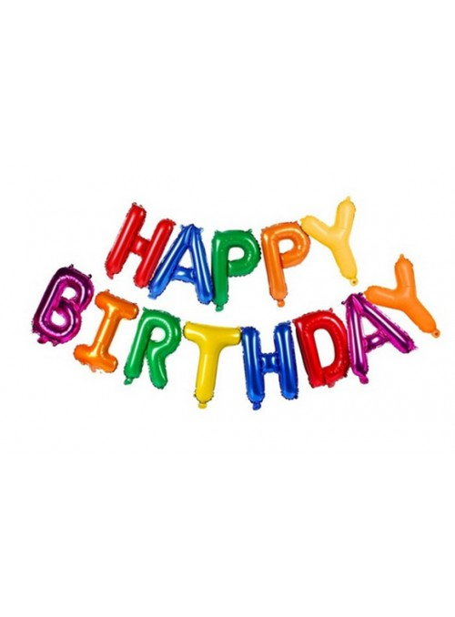 Balões Metalizados Happy Birthday Colorido – 1 kit