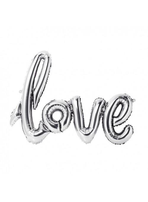 Balão Metalizado Love Prata – 1 unidade