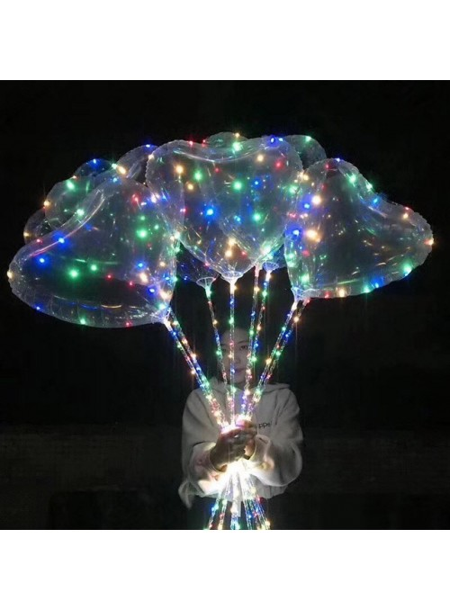 Balão Bubble Coração com Led na Vareta – 1 unidade