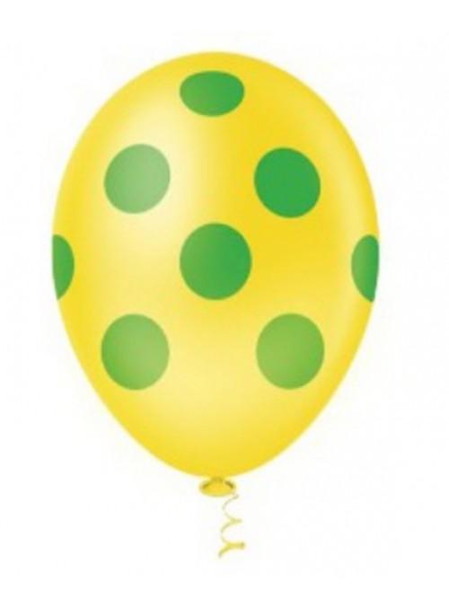 Balões De Látex Amarelo com Bolinhas Verdes - 25 unidades