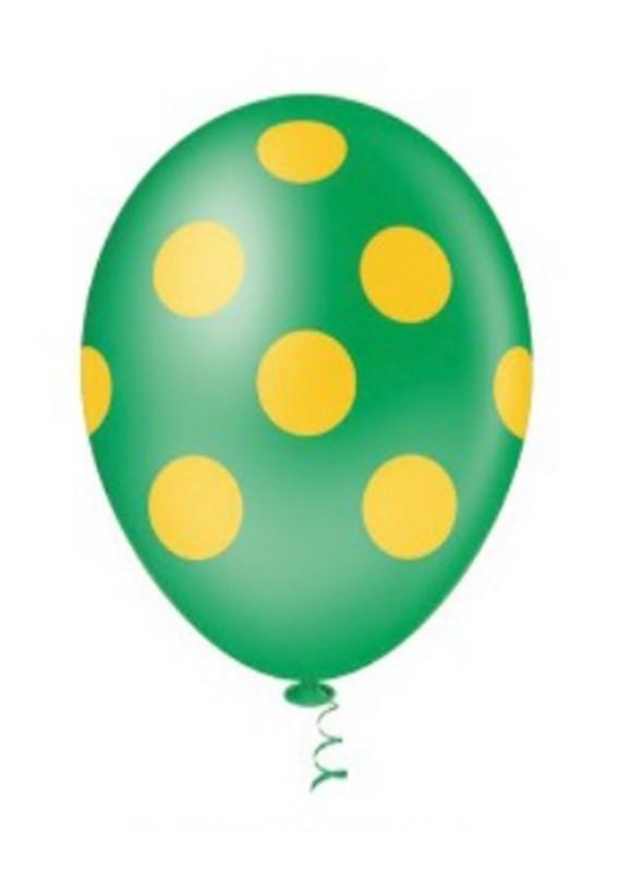 Balões De Látex Verde com Bolinhas Amarelas - 25 unidades