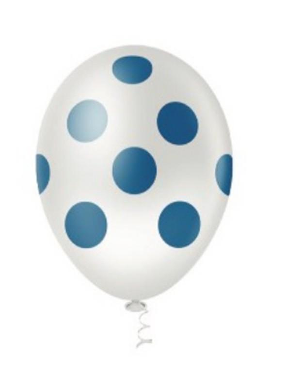 Balões De Látex Transparente com Bolinhas Azuis - 25 unidades