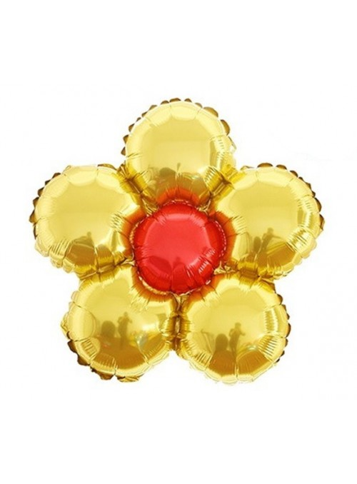 Balões Metalizados Flor Dourada – 6 unidades