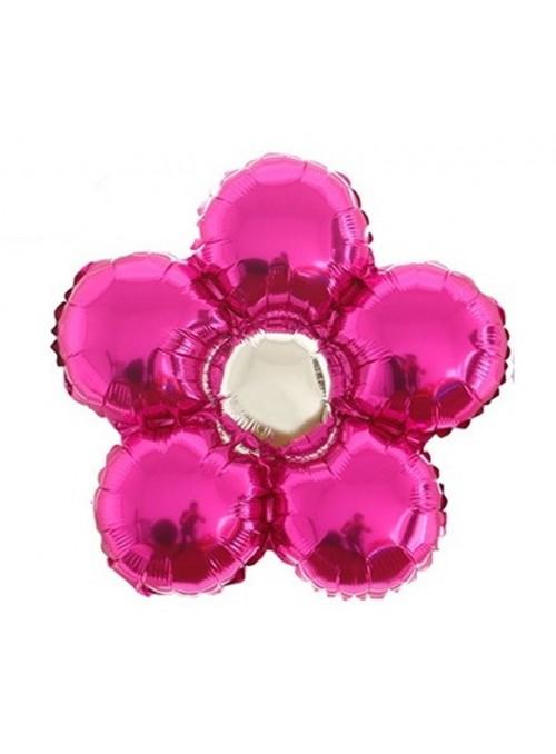 Balões Metalizados Flor Rosa – 6 unidades