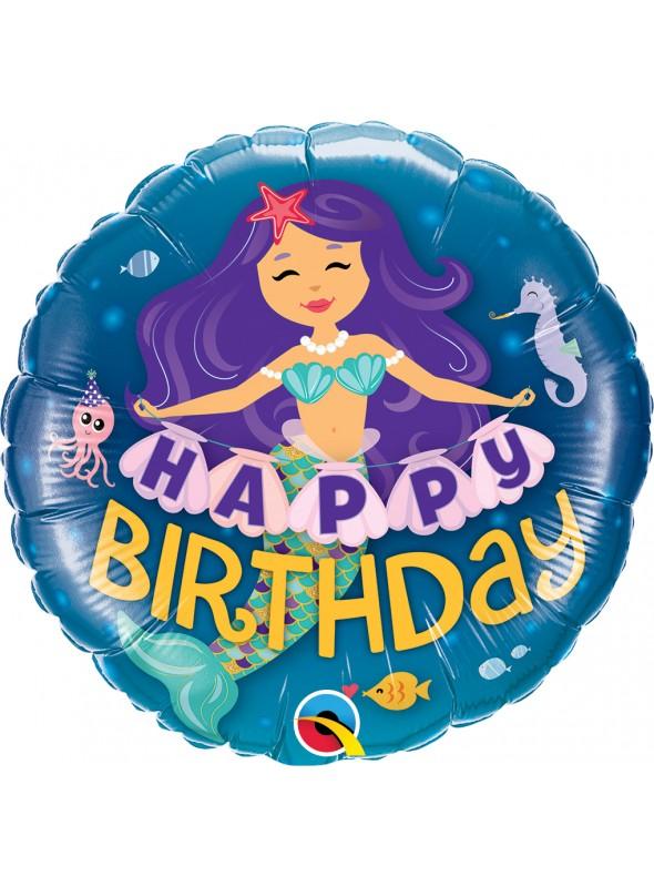 Balão Metalizado Happy Birthday Sereia – 1 unidade