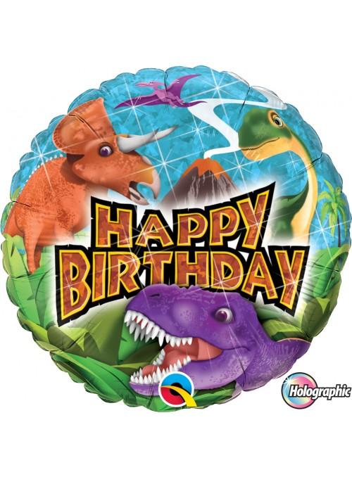 Balão Metalizado Happy Birthday Dinossauros – 1 unidade