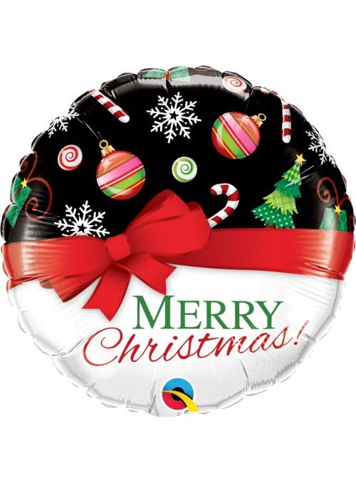 Balão Metalizado Natal Laço Vermelho – 1 unidade