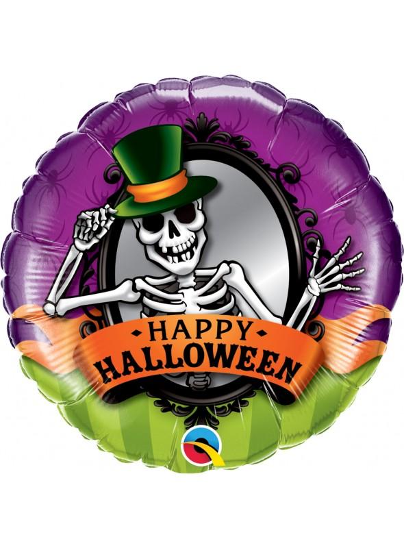 Balão Metalizado Halloween Caveira – 1 unidade