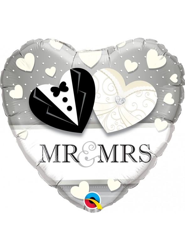 Balão Metalizado Coração Mr & Mrs – 1 unidade