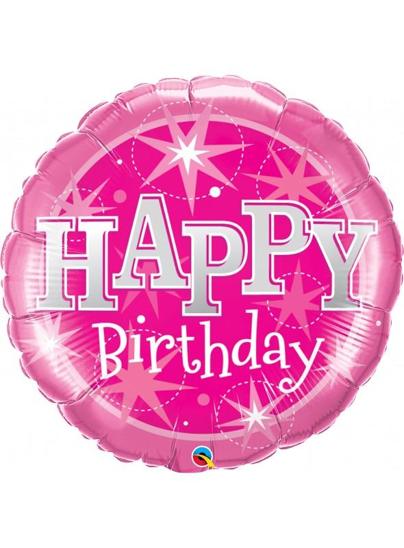 Balão Metalizado Happy Birthday Rosa – 1 unidade