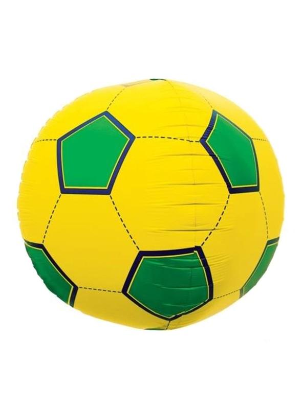 Balão Bexiga Metalizada Bola de Futebol Brasil 3D – 1 unidade
