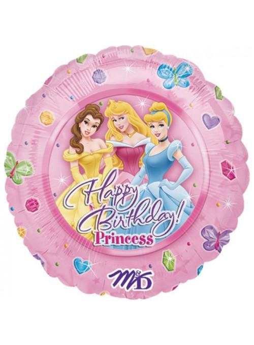 Balão Bexiga Metalizada Happy Birthday Princesas – 1 unidade
