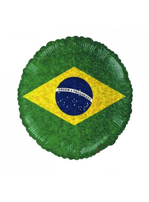 Balão Bexiga Metalizada Bandeira do Brasil Holográfica – 1 unidade