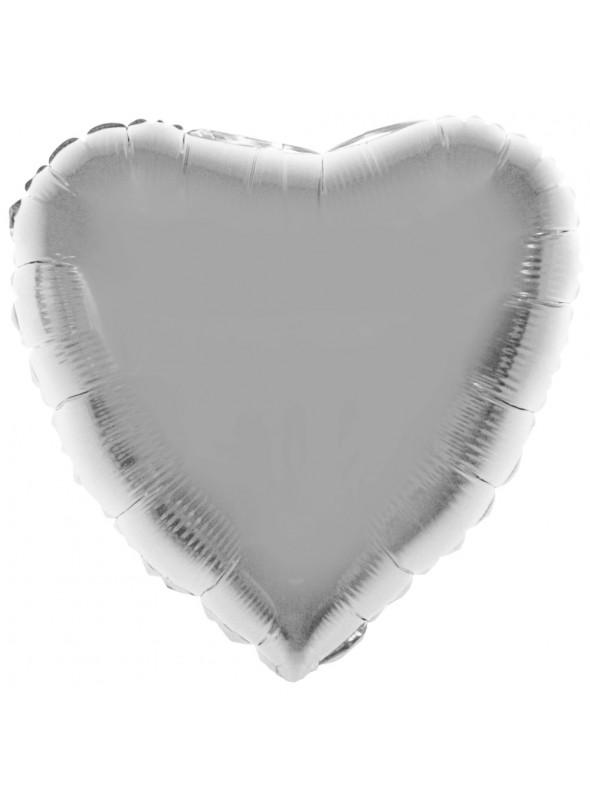 Balão Bexiga Metalizada Coração Prata 32 Polegadas – 1 unidade
