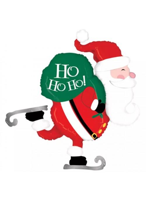 Balão Bexiga Metalizada Natal Papai Noel Patinando – 1 unidade