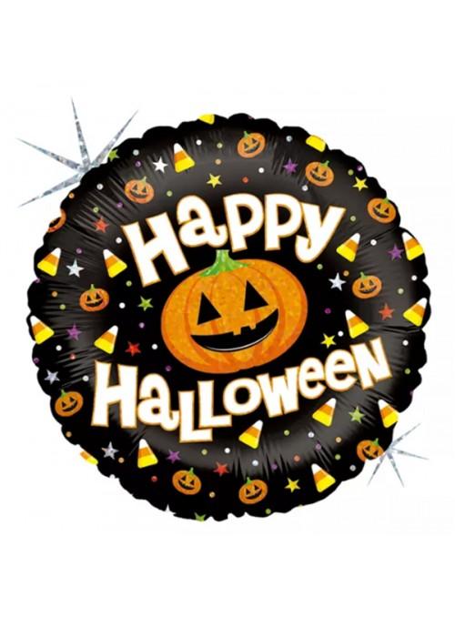 Balão Bexiga Metalizada Halloween Redondo Abobora – 1 unidade