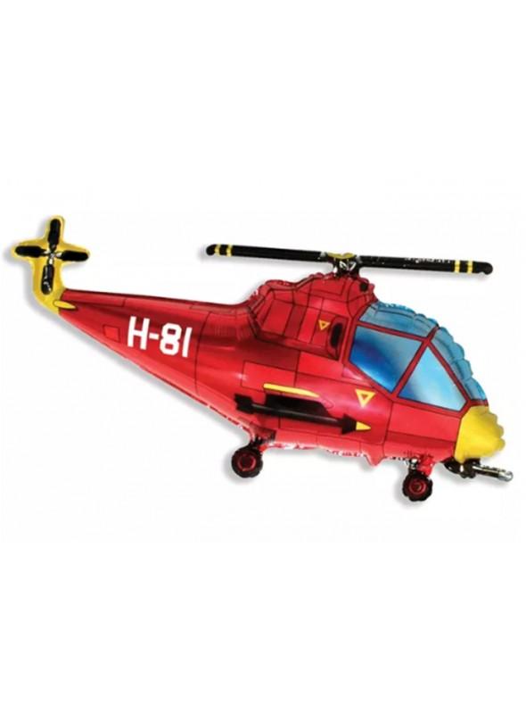 Balão Bexiga Metalizada Helicóptero Vermelho – 1 unidade