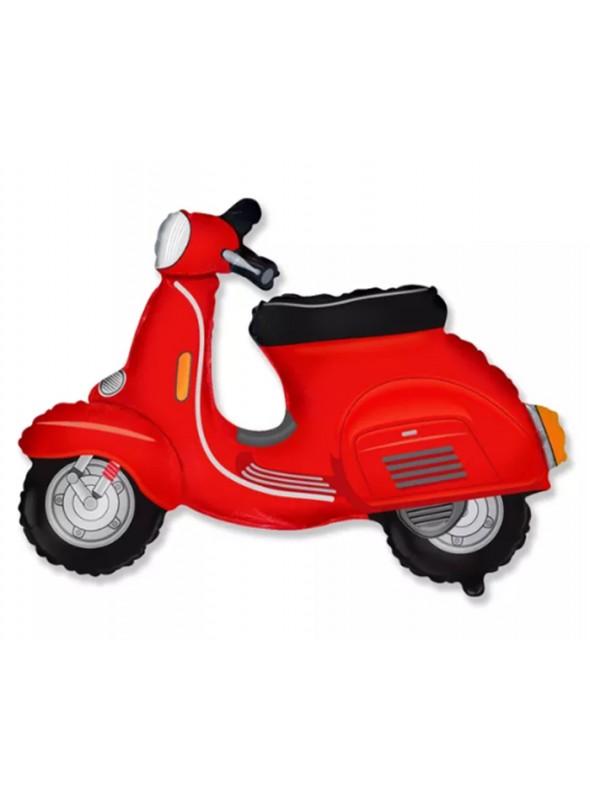 Balão Bexiga Metalizada Moto Scooter Vermelha– 1 unidade