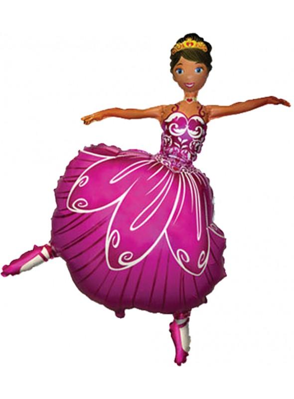 Balão Bexiga Metalizada Bailarina Rosa– 1 unidade