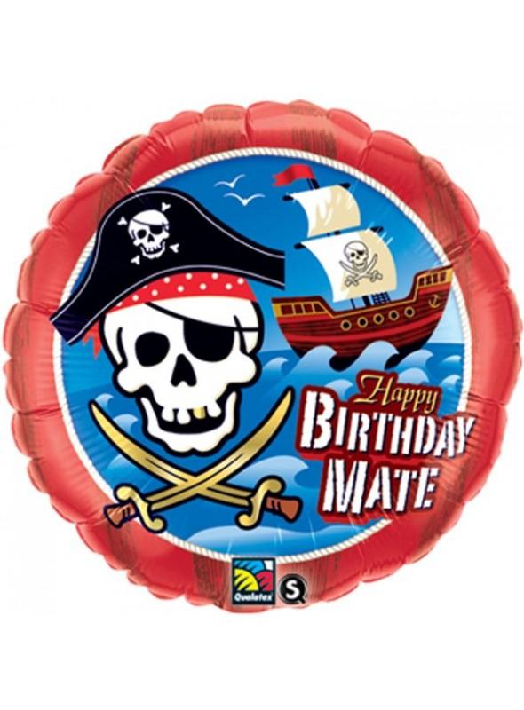 Balão Bexiga Metalizada Happy Birthday Pirata – 1 unidade