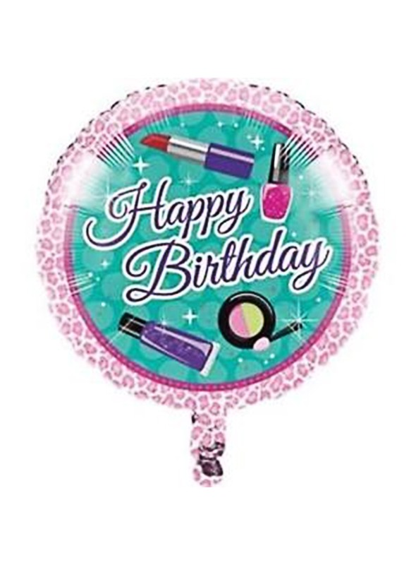 Balão Bexiga Metalizada Happy Birthday Maquiagem – 1 unidade