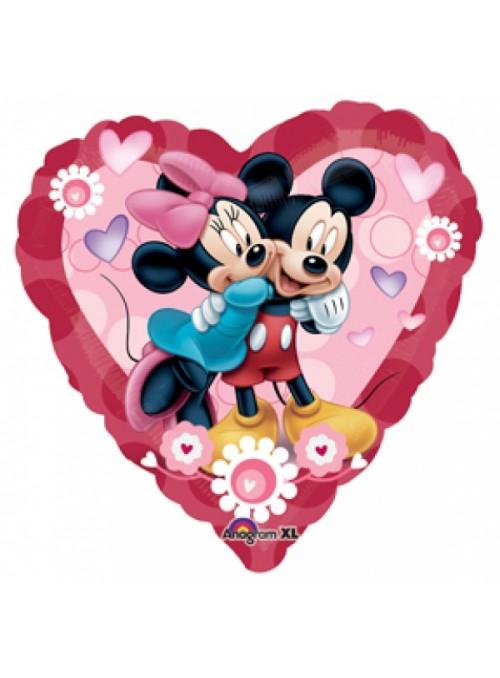 Balão Bexiga Metalizada Coração Mickey e Minnie – 1 unidade
