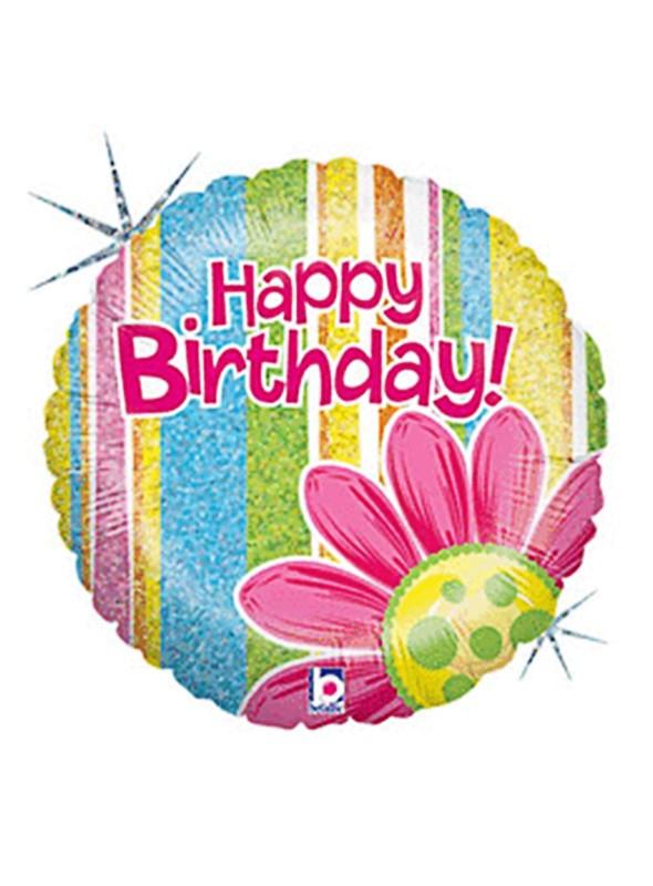 Balão Bexiga Metalizada Holográfico Happy Birthday Flor – 1 unidade