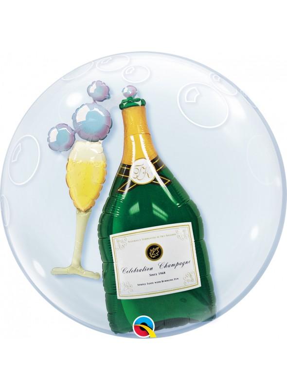 Balão Bexiga Bubble Transparente Duplo Garrafa e Taça de Champanhe – 1 unidade